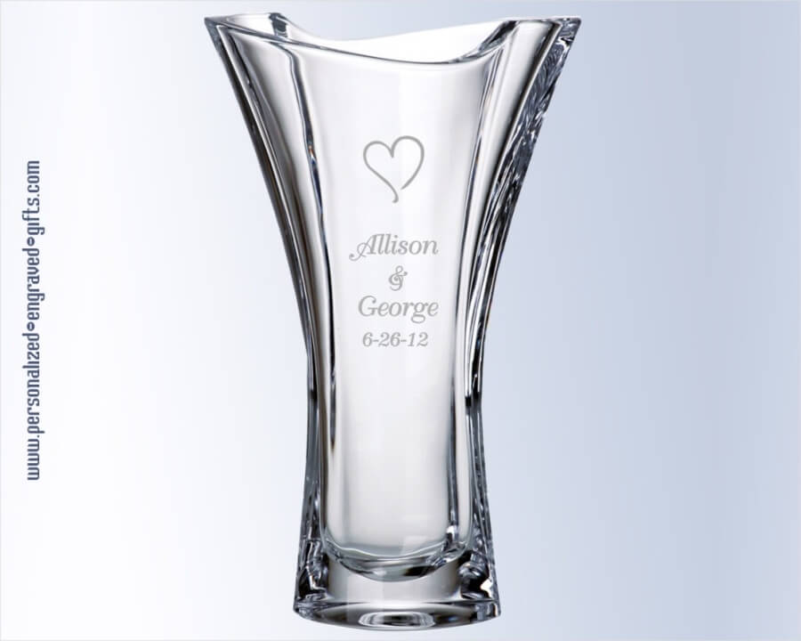 Crystal Tapered Vase With Ribbon Top Deep Engraved