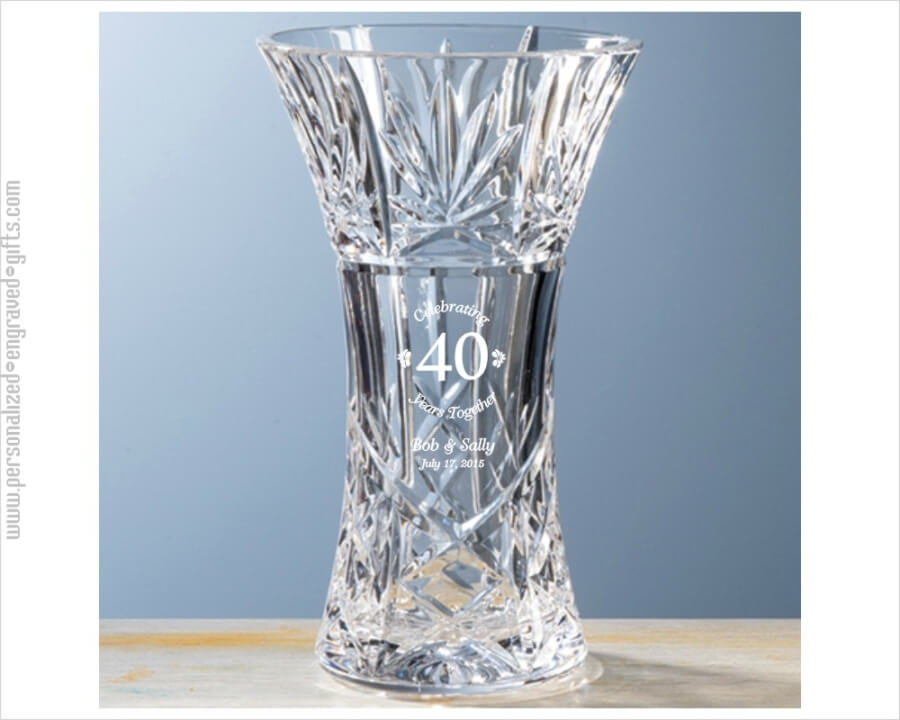An Anniversary Gift With Flare A Hand Cut Crystal Vase Celebrating