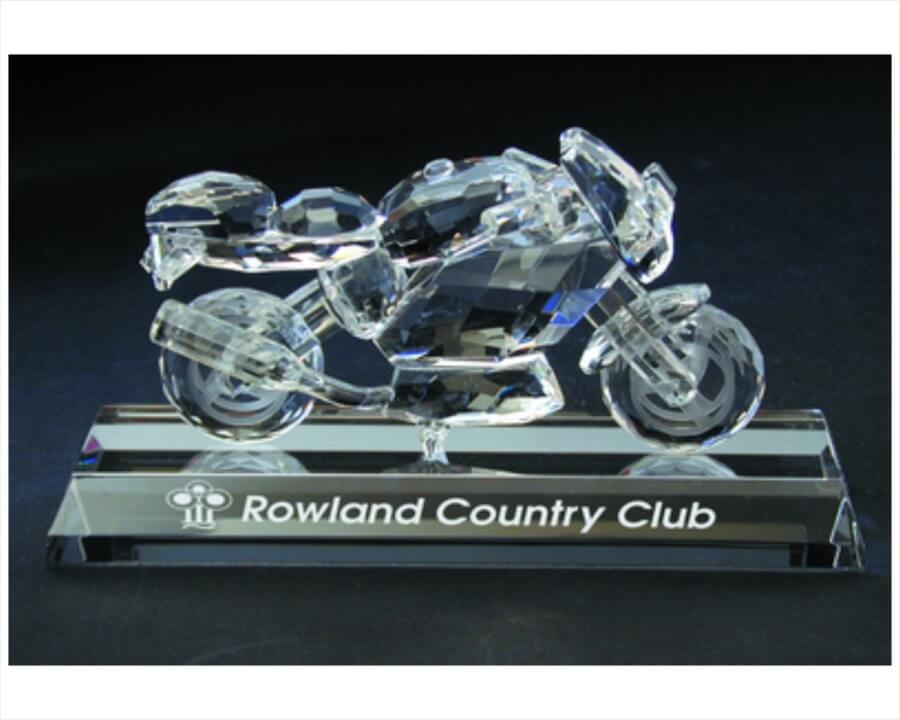 Engraved Crystal Sport Motorcyle