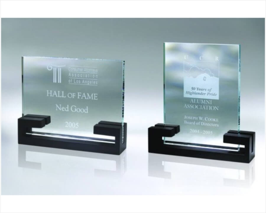 Engraved Starfire Glass Plaque Award In Black Wooden Base