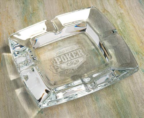 engraved square glass cigar ashtray