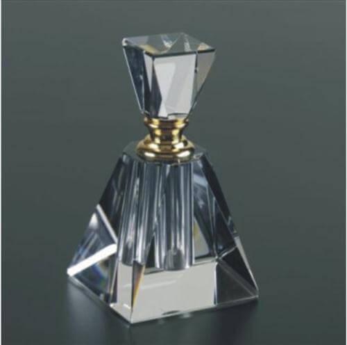 Engraved Crystal Perfume Bottles Pyramid Shaped