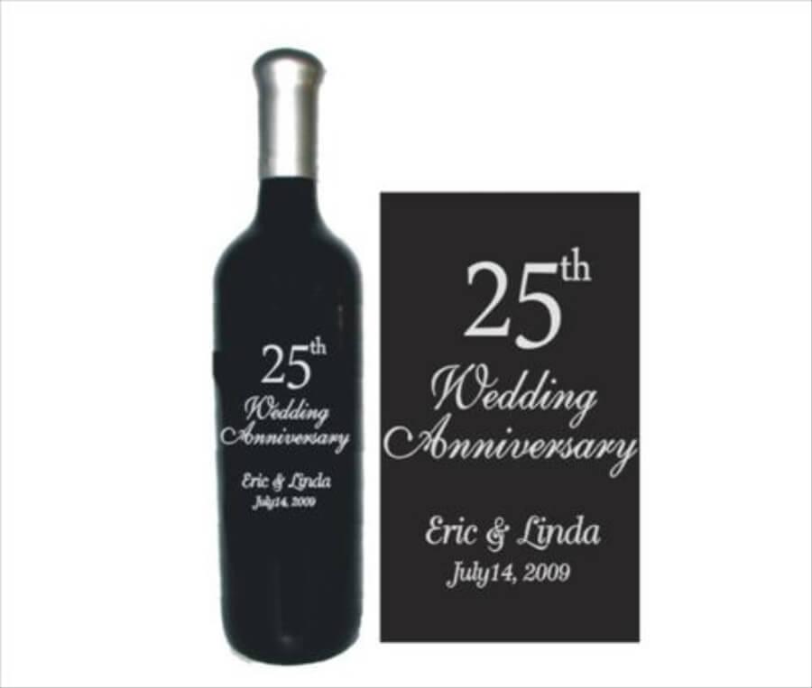 Engraved Wine Bottles Wedding Anniversary Design 1