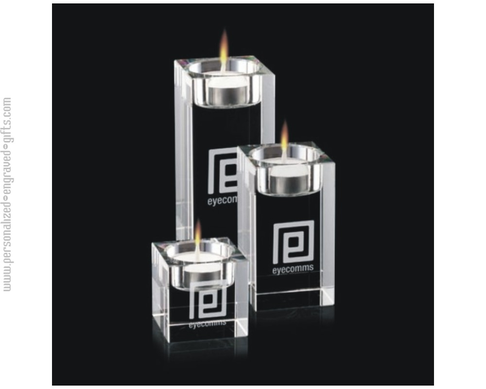 Engraved Optic Crystal Candle Holders Cuboid