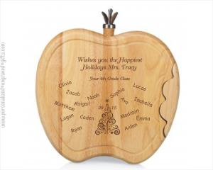Engraved Cheese Boards Apple Shaped Teacher Appreciation