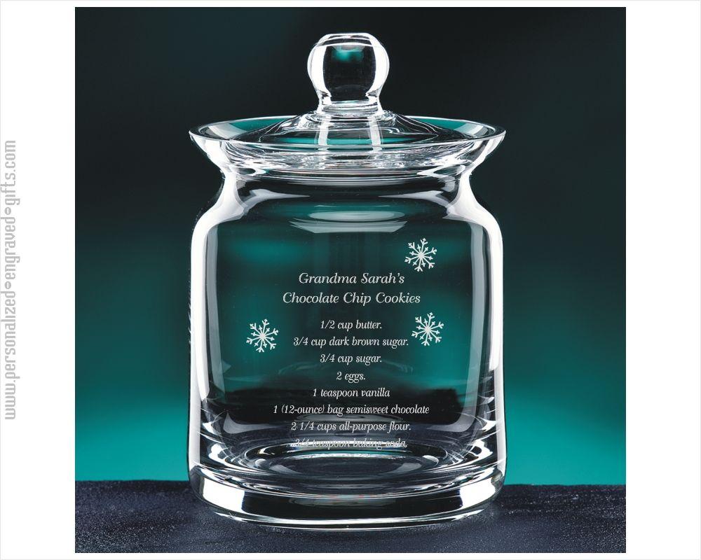 Engraved Crystal 7 Inch Biscuit Jar