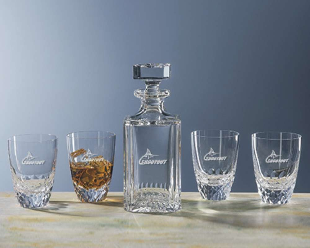 Hand Cut And Engraved Lead Crystal Decanter Set With