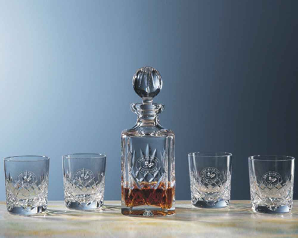 engraved crystal decanter with glasses