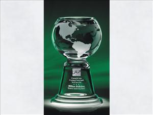 Globe Etched Custom Pedestal Bowl