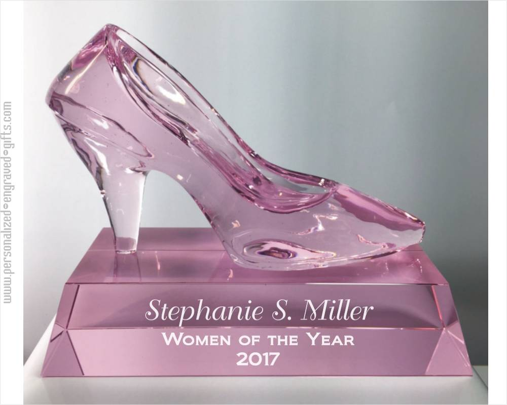 Engraved Crystal Pump Slipper Or Shoe Award