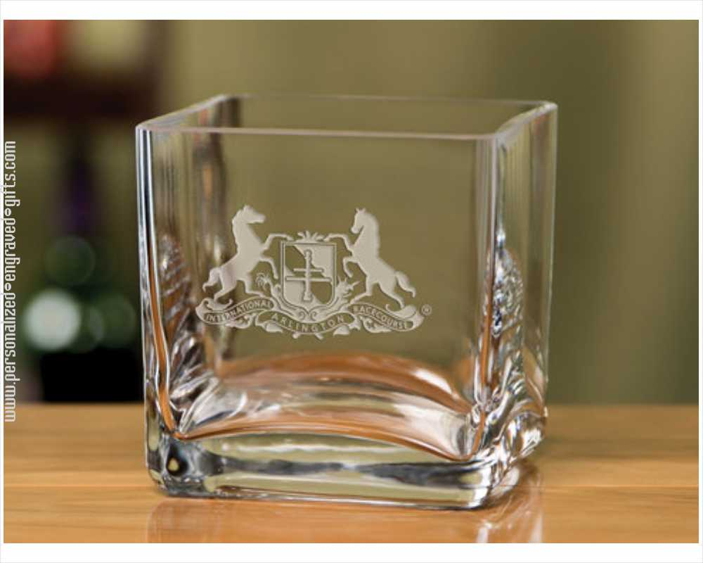 Personalized Square Custom Engraved Crystal Bowl