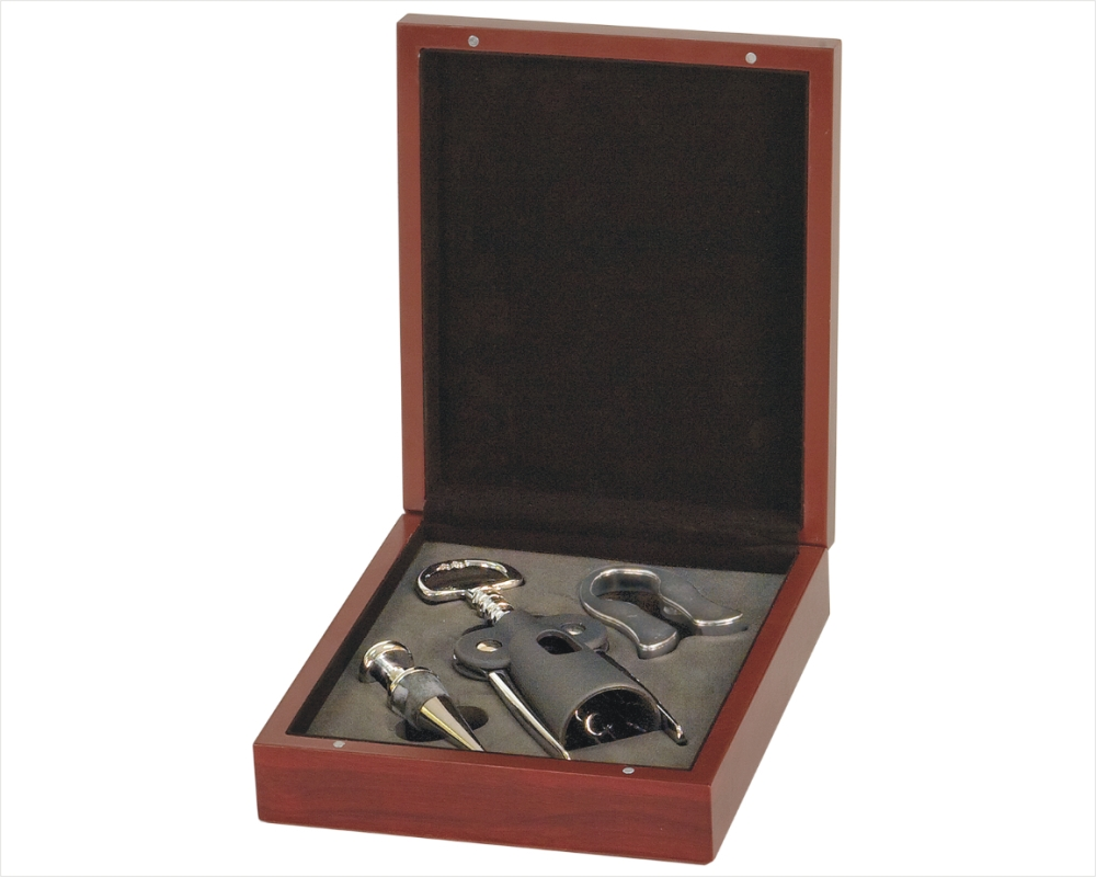Custom Engraved Wine Corkscrew & Wine Tool 3 Piece Gift Set