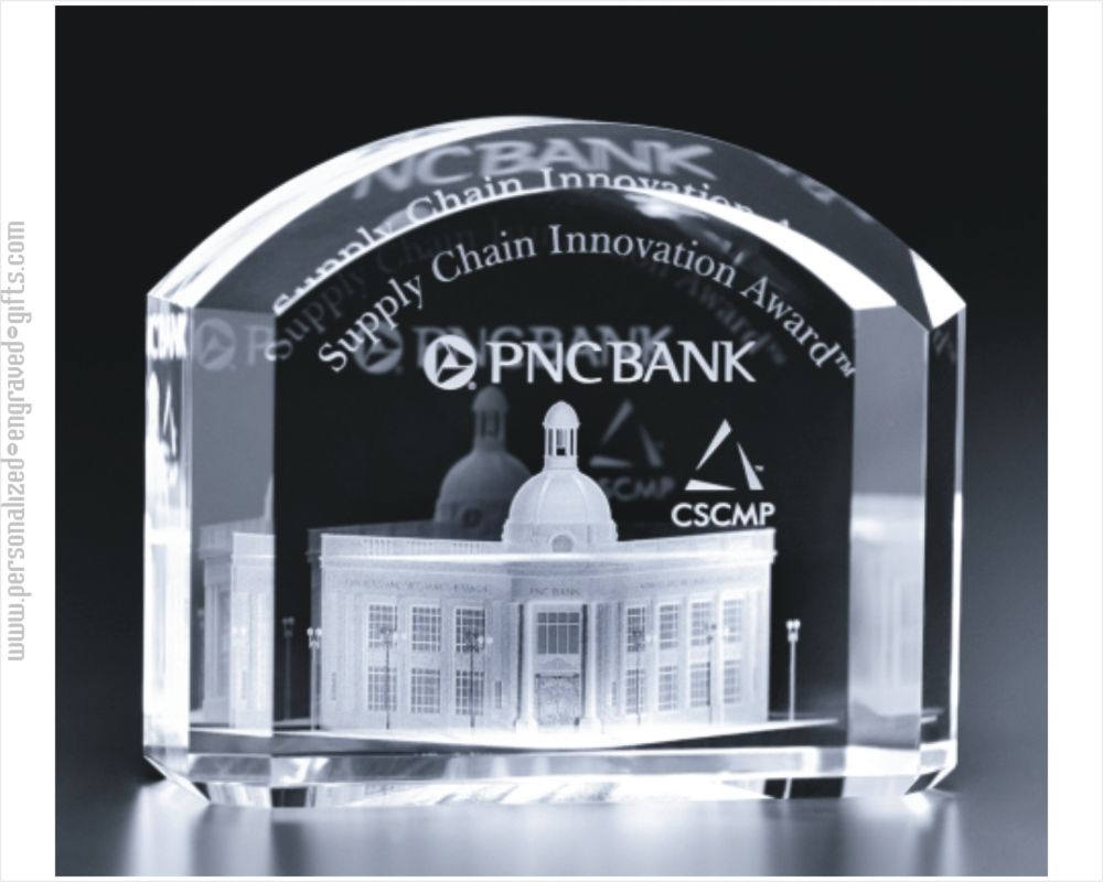 3D Engraved Crystal Arch Award Von