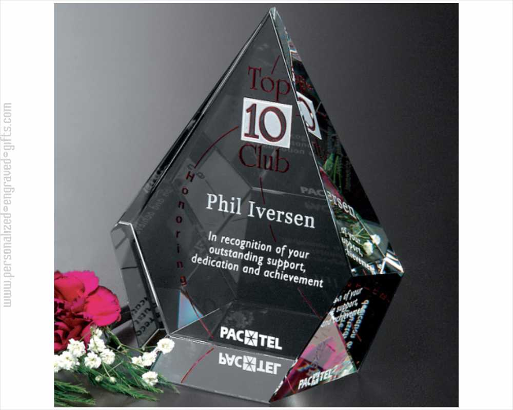 Three-Dimensional Engraved Crystal Diamond Award Sky