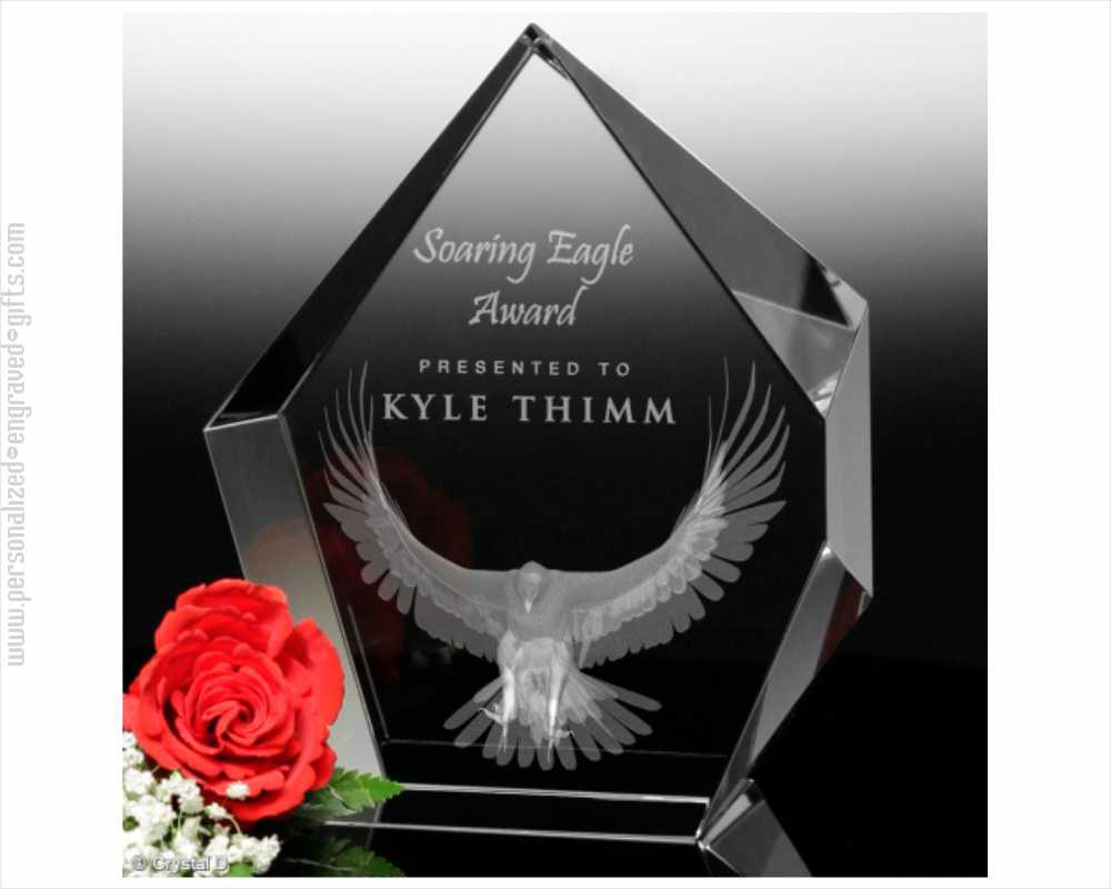 3D Engraved Crystal Hexagon Award Rex