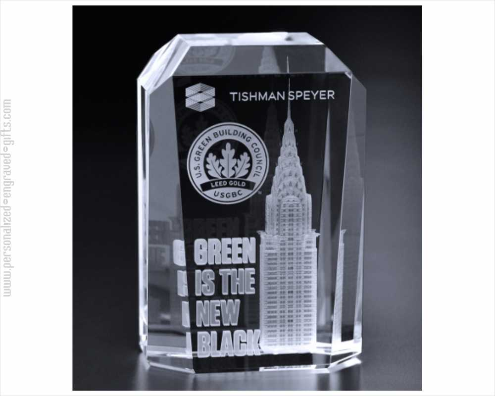 3D Engraved Crystal Rectangle Award Don
