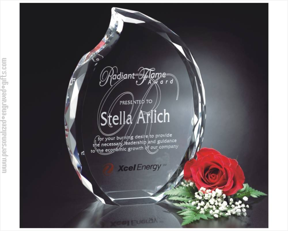 3D Engraved and Personalized Crystal Flame Award Max