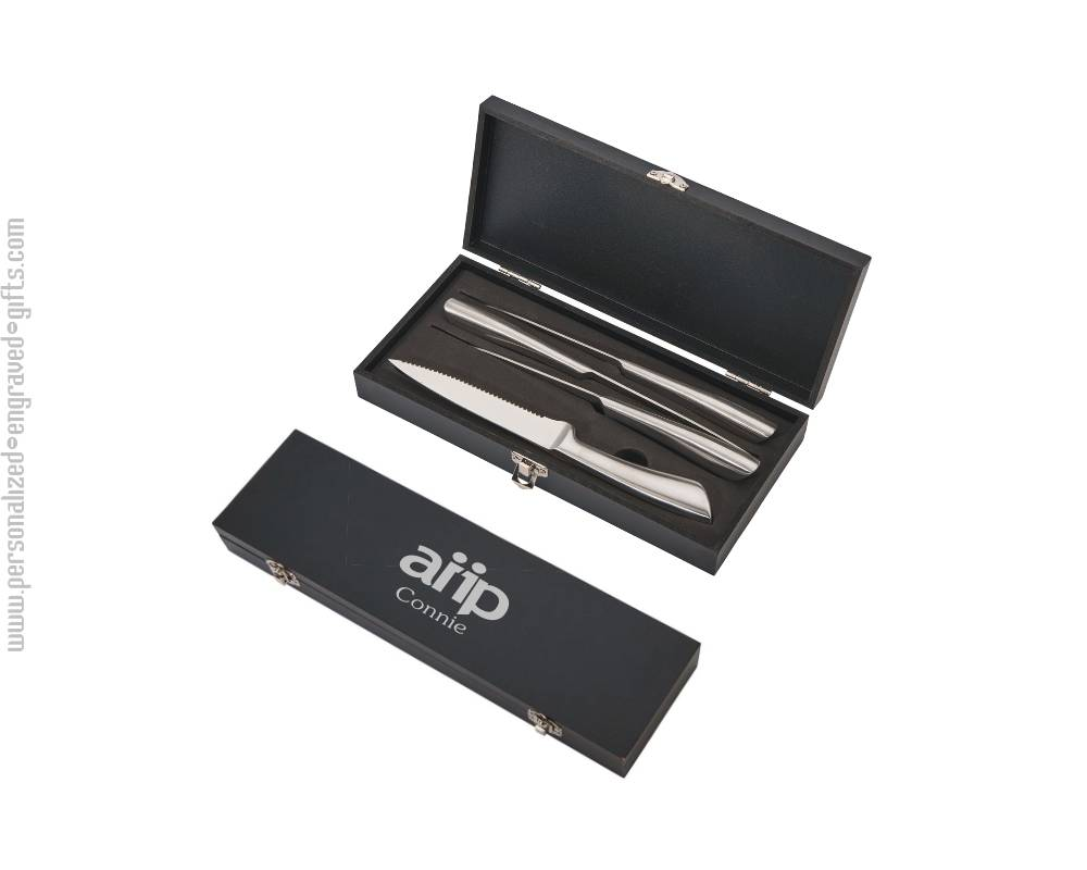 4 Stainless Steel Knives in Black Gift Box Lynton