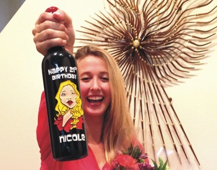 Caricature Engraved on a Wine Bottle for a Fun & Unique Gift