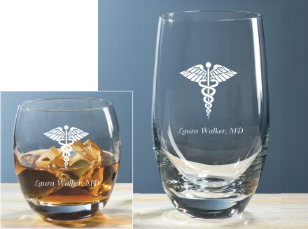 Classic Round On the Rocks & Beverage Glasses Customized