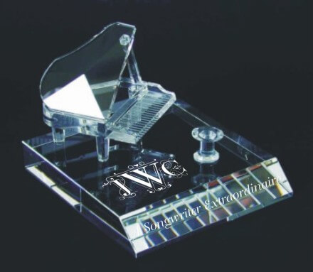Deep Etched Crystal Grand Piano Award on Beveled Base