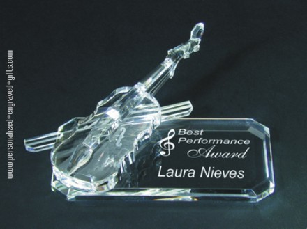 Personalized Crystal Violin Engraved for a Best Performance