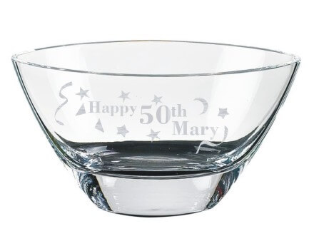 Oval 12 Inch Mouth Blown Glass Bowl Custom Engraved