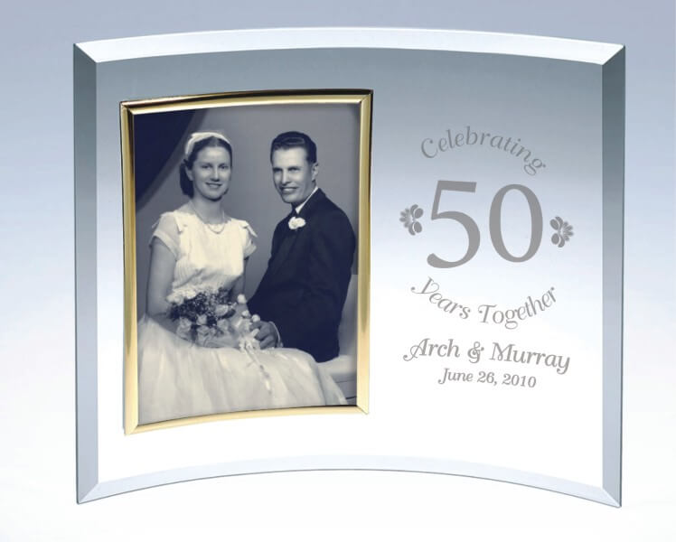 A Personalized Curved Glass Picture Frame a Classic Anniversary or Wedding Gift