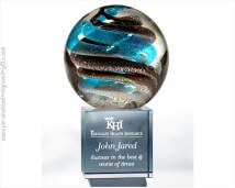 Art Glass Globe with Blue and Grey Swirls on Crystal Base