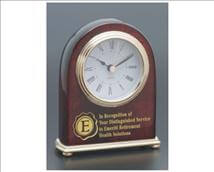 Engraved Rosewood Clock with Gold Trim