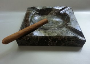 Engraved Square Black Marble Cigar Ashtray  -  Vegas