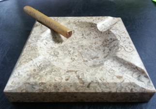 Engraved Square Fossil Stone Ashtray - Bomba