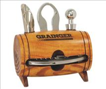 Engraved Wooden Barrel 4 Piece Wine Tool Set