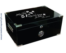 Black Lacquer Humidor with Silver Accents - Dorin