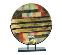 Gold Striped Abstract Art Glass Round Plate