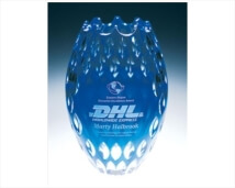 Deep Etched Lead Crystal Award Vases Blue Vulcan