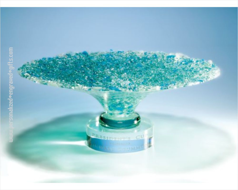 Personalized Brilliant Aquamarine Art Glass Bowl