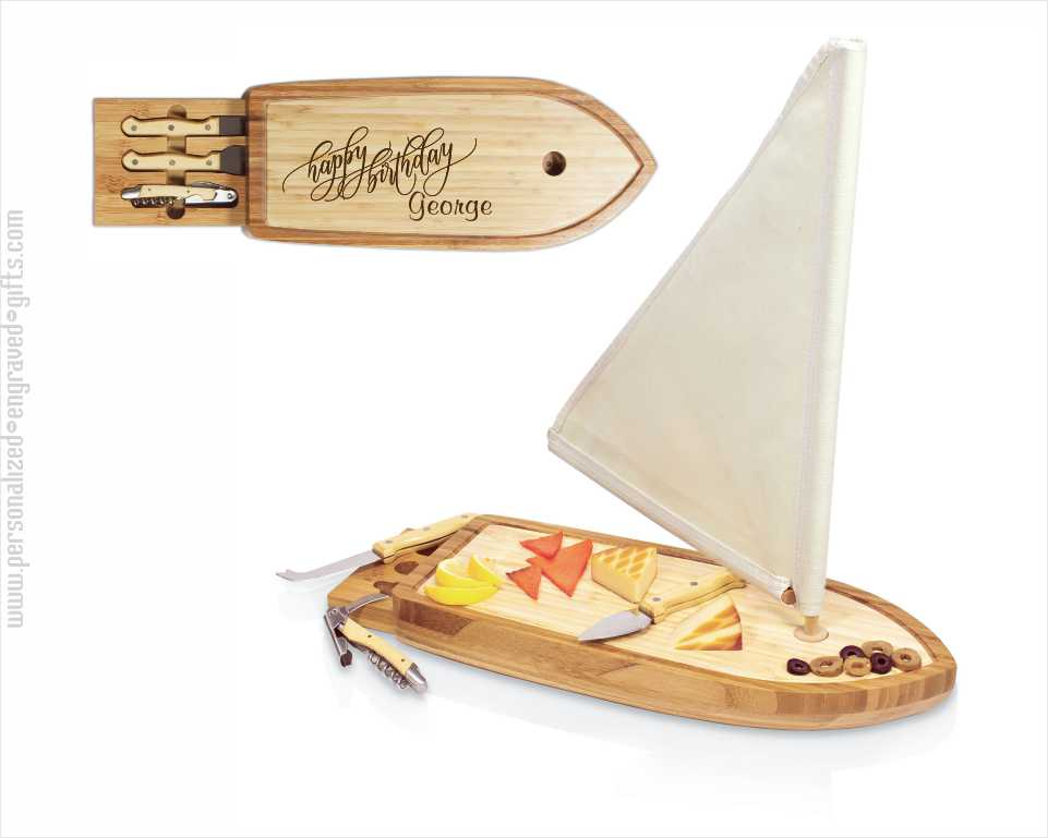Sailboat-Shaped Cheese Board - Laser Engraved