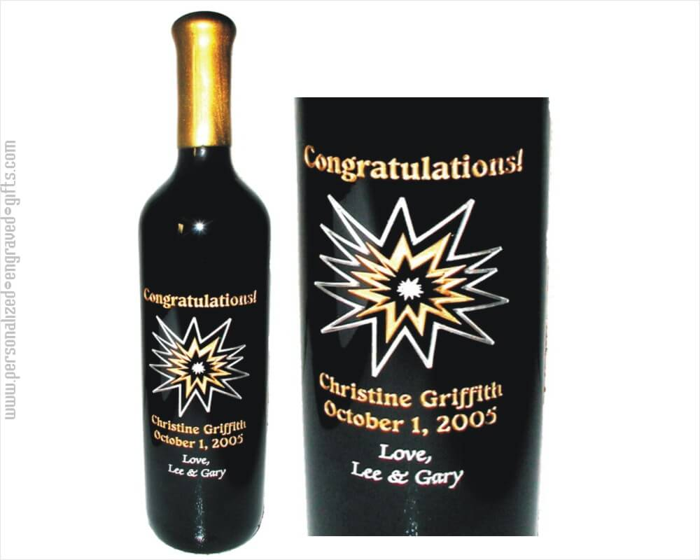 Congratulations Star Burst 1 Etched Bottle