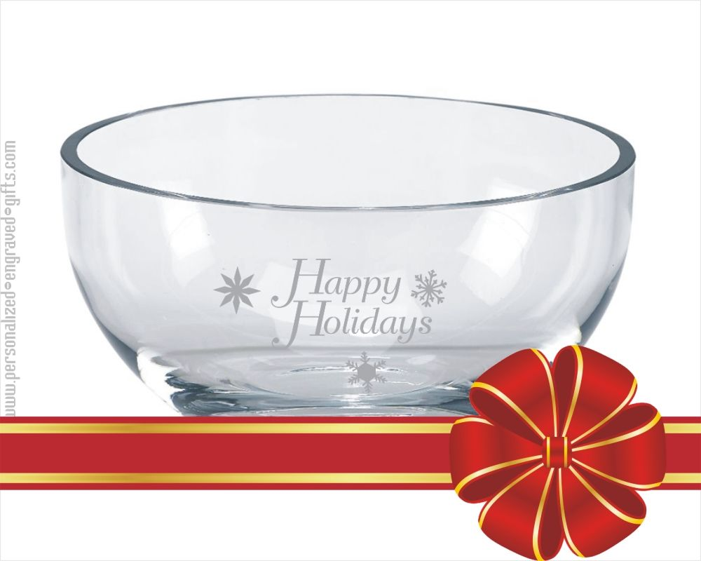 Crystal Clear Contemporary Glass Bowl Custom Engraved The Palma