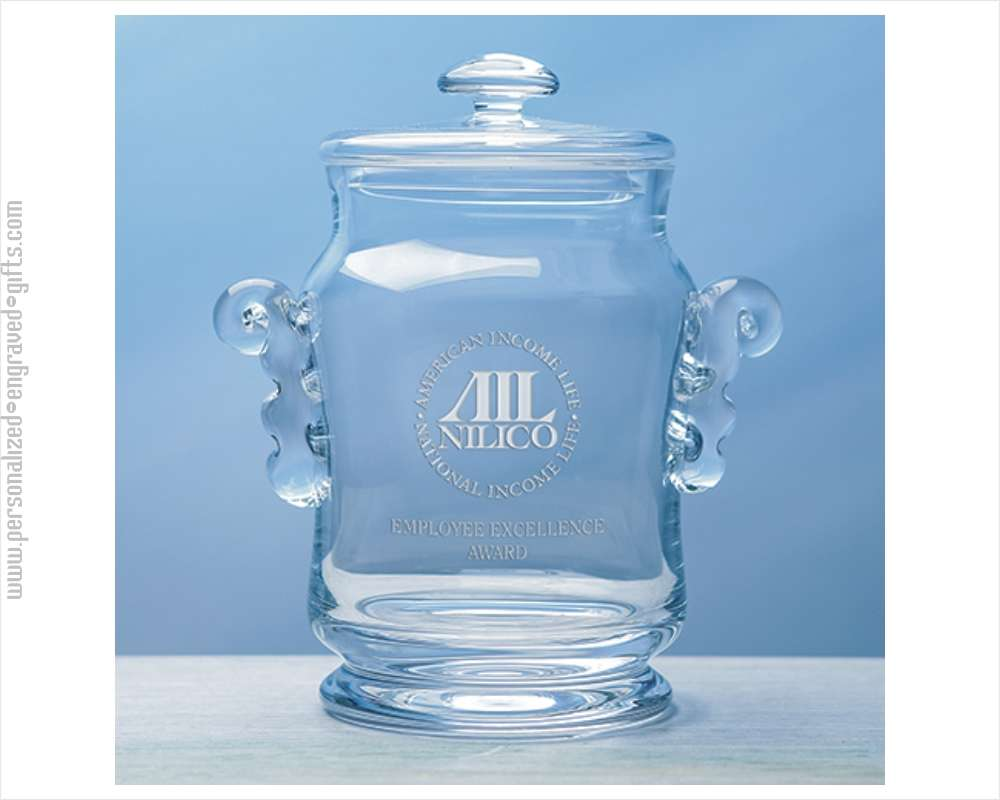 Custom Engraved Crystal Biscuit Jar - The Phillips