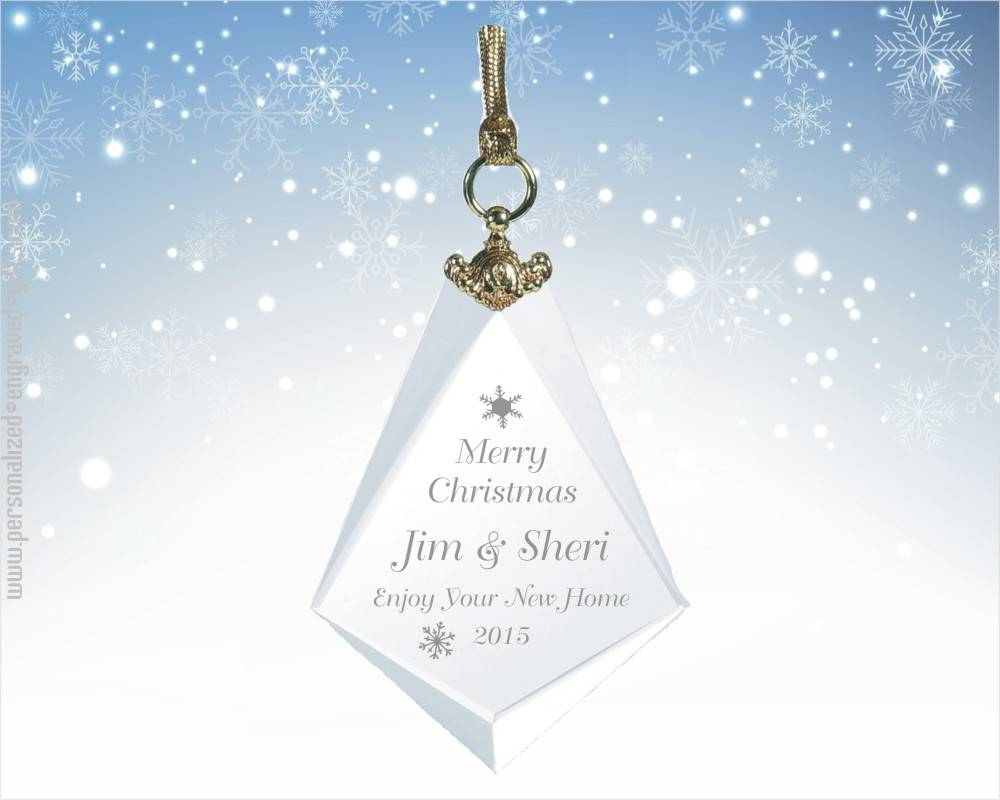 Personalized Diamond Shaped Crystal Ornament