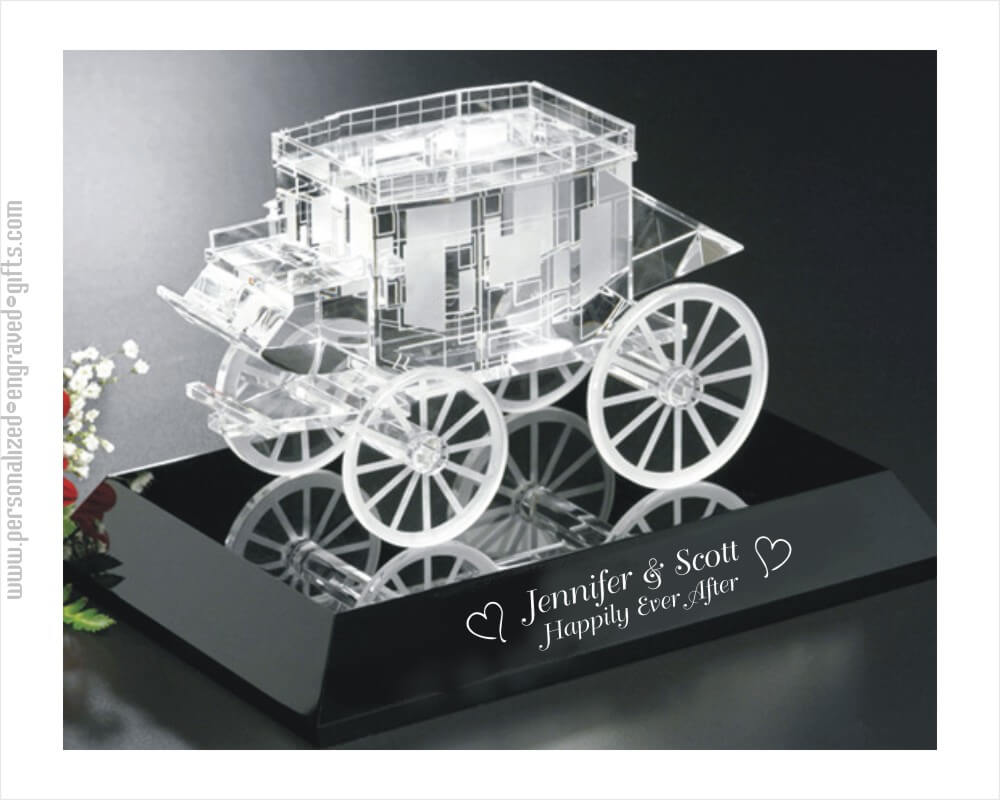 Crystal Horse Drawn Carriage Distinctive Keepsake on Black Base