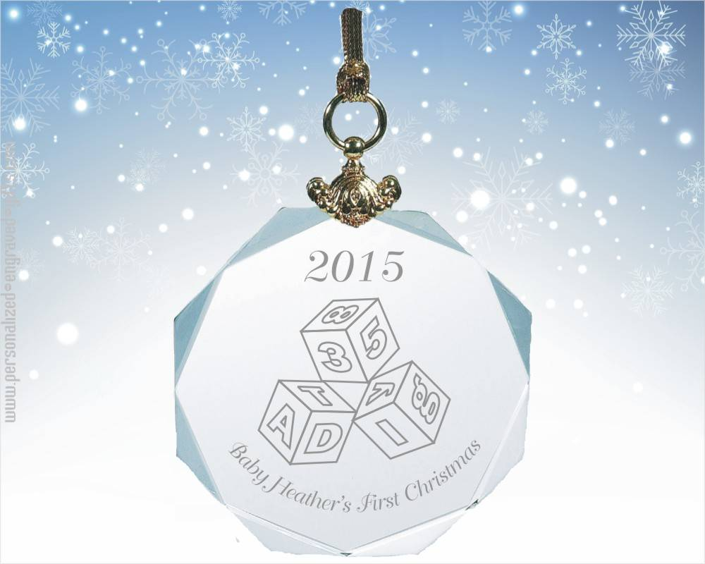 Crystal Octagon Ornament Engraved for the Holidays