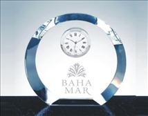 Engraved Crystal Round Clock with thick Beveled Edge_Luna