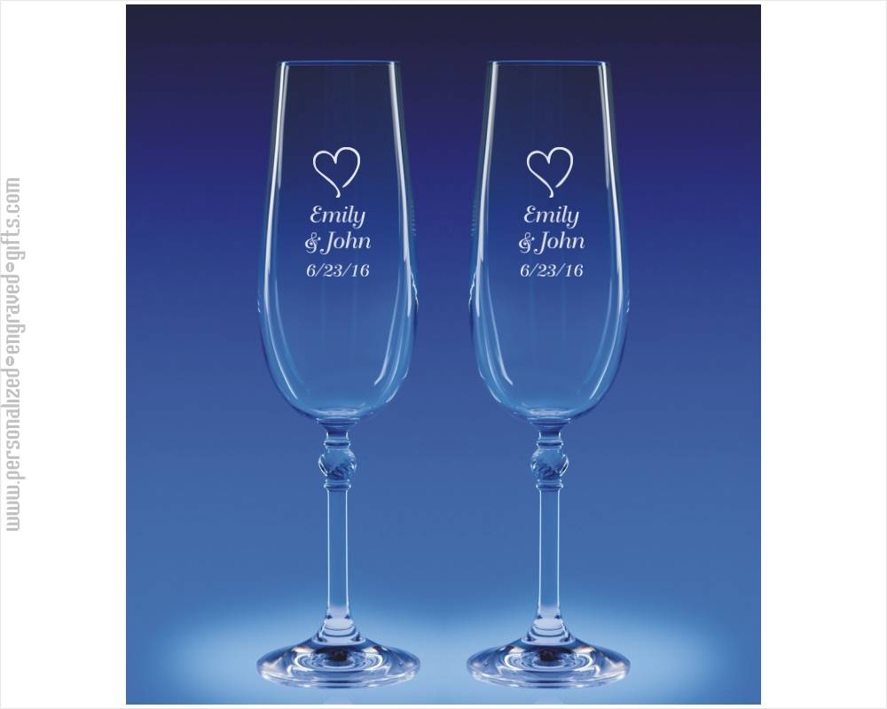 Champagne Roma Flutes (Set of 2) Custom Engraved