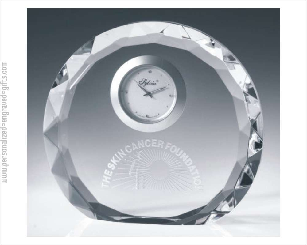 Faceted Round Crystal Engraved Clocks Prague