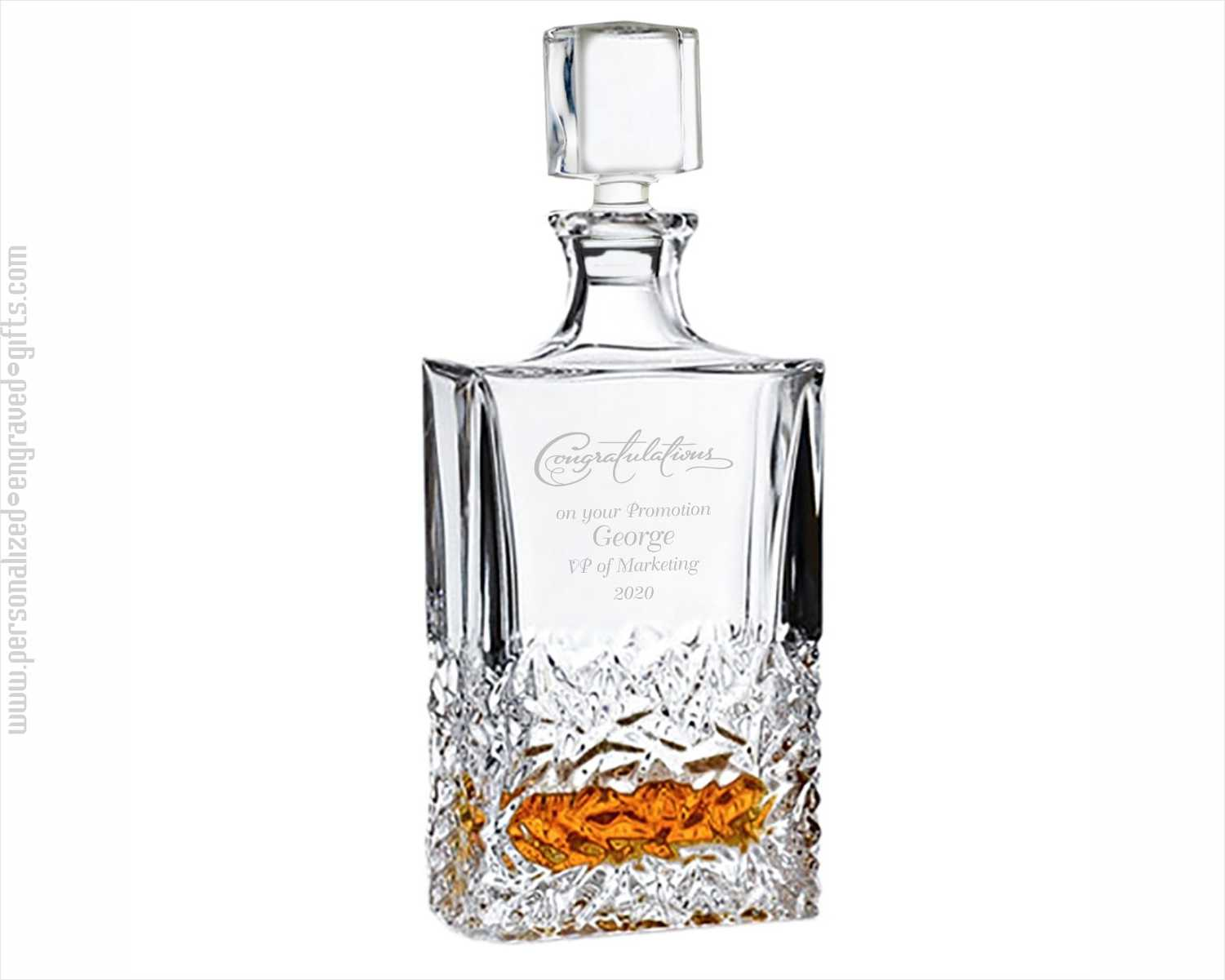 Personalized Decorative Rocky Decanter with Abstract Leaf Design