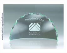 Half Circle Chipped Edge Jade Glass Award