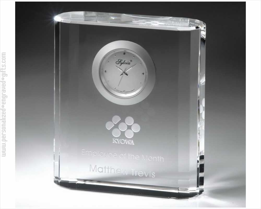 Deep Etched 4 inch Square Crystal Clock